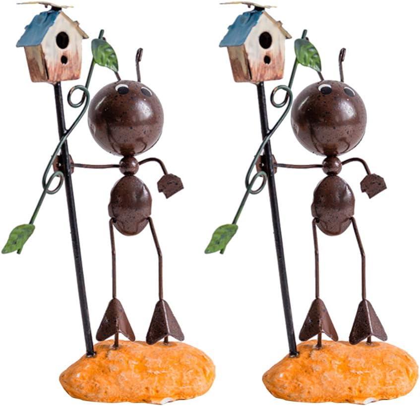 Garneck 2 Piezas Modelos de Hormigas de Metal Dibujos Animados Hierro Arte Insecto Pájaro Casa Jardín Estatua Figura Mesa Decoración Colección Muñeca para Restaurante Oficina Café