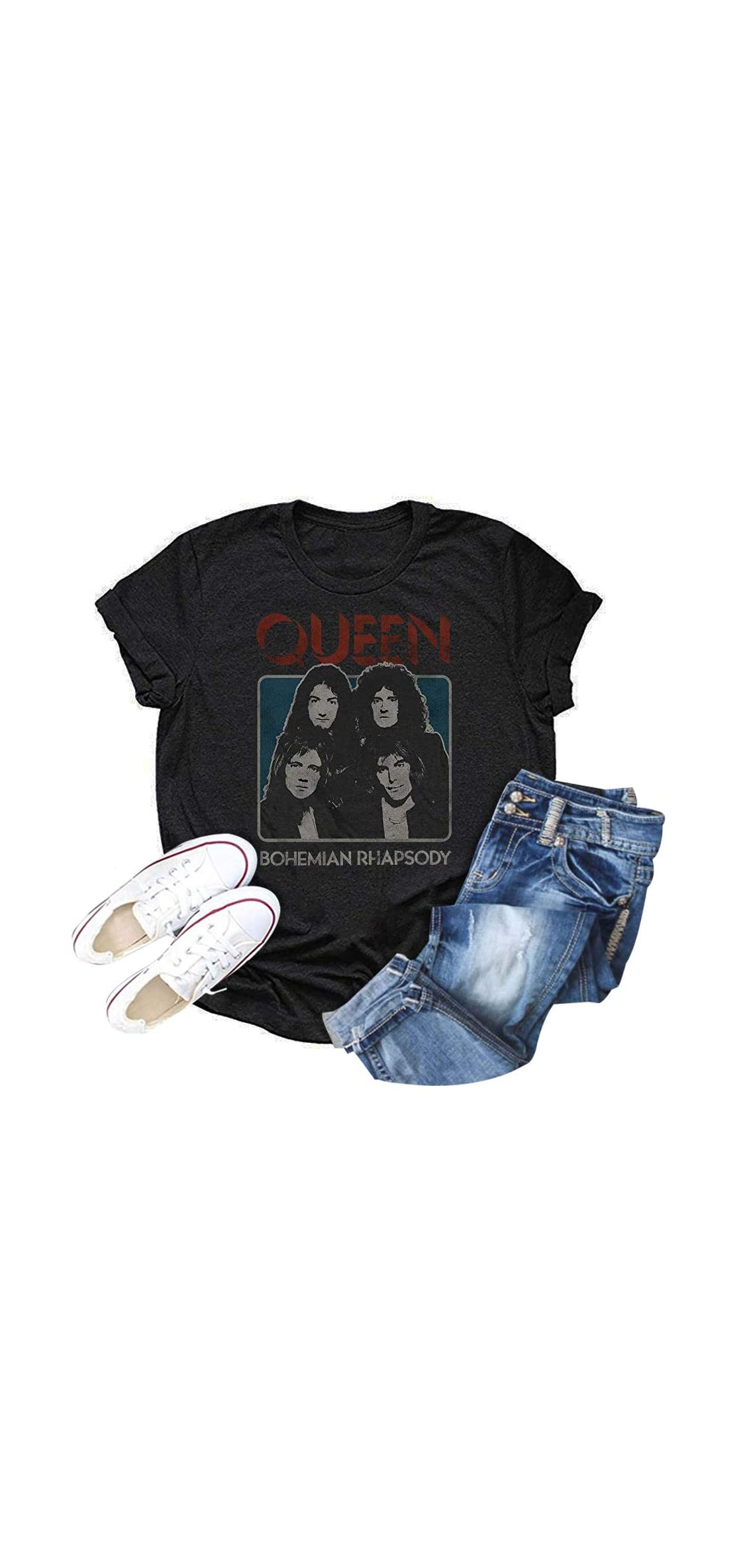 Womens Queen Band Vintage Tops Funny Graphic Freddie Mercury Tee