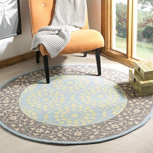 Safavieh SZN104A-5R Suzanne Collection Handmade Premium Wool Round Area Rug, 5' Diameter, Chocolate/Yellow ()