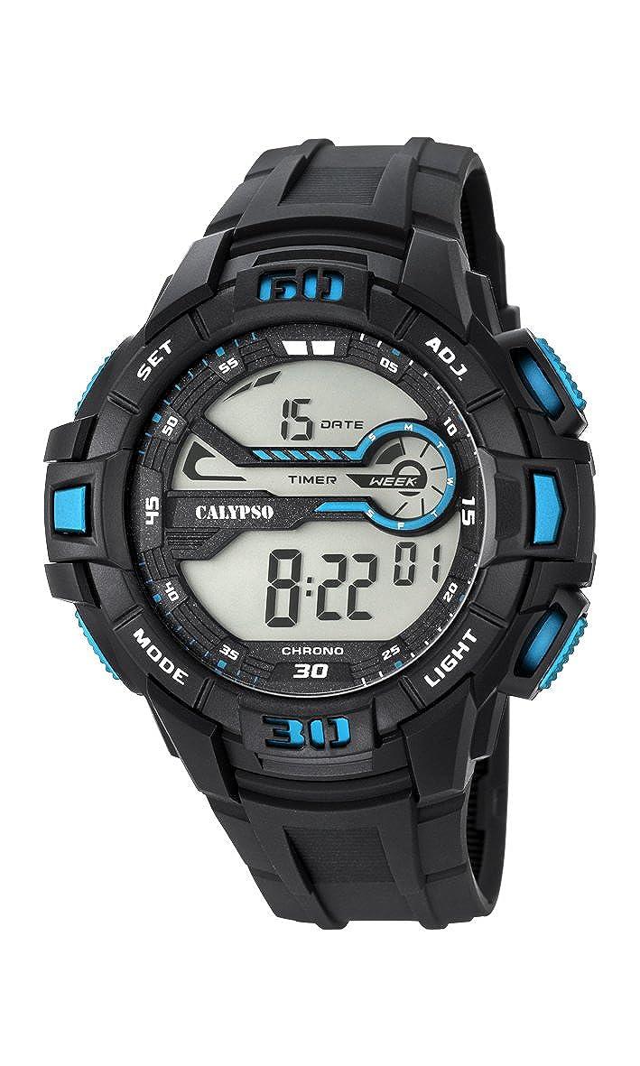 Calypso Hombre Reloj Digital con Pantalla LCD Pantalla Digital Dial y Correa de plástico en Color Negro k5695/6