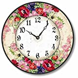 Item C1605 Vintage Style 10.5 Inch English Floral Clock For Sale