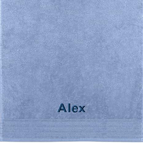 Erwin Müller Toalla con nombres Alex bordado, azul claro, 50 x 100 cm