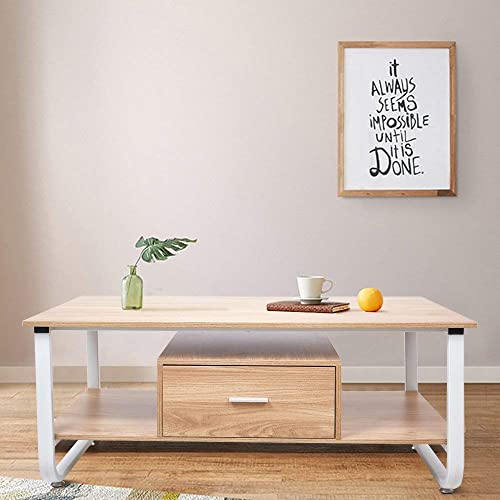 Livebest Wooden Coffee Tables Rectangle Tea Table with Drawer and 2 Tier Open Storage Shelf