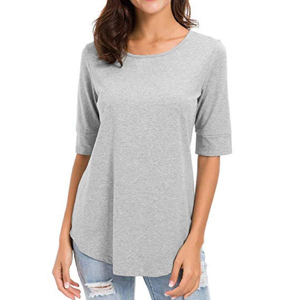 Wenini Womens Casual Solid T Shirt Half Sleeve Blouse Basic Tunics Splice Tops
