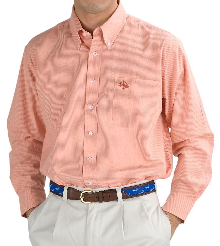 Peach Seersucker Button Down Sport Shirt - (M, Peach) at Amazon ...
