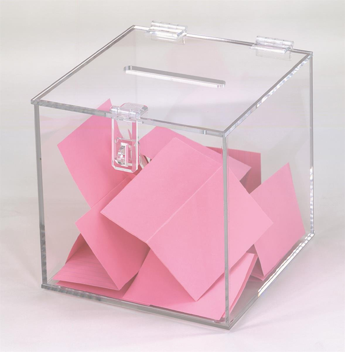 Displays2go Clear Acrylic Cube Ballot Box with Hinged Lid, 7.25'' x 7.25'' (MEBWL)