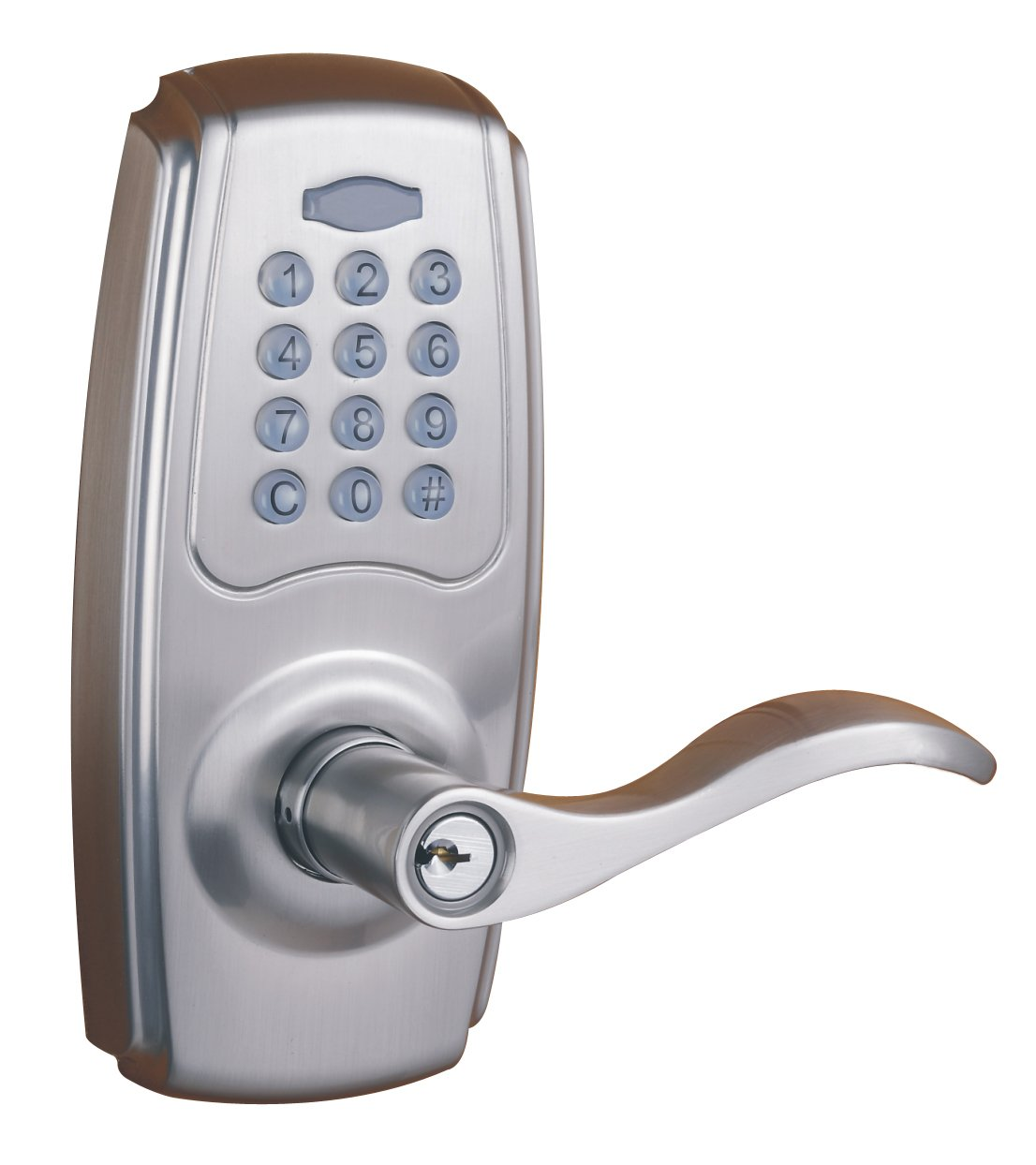 Faultless G2X2LYED0AA Electronic Keypad Lever, Satin Nickel ...