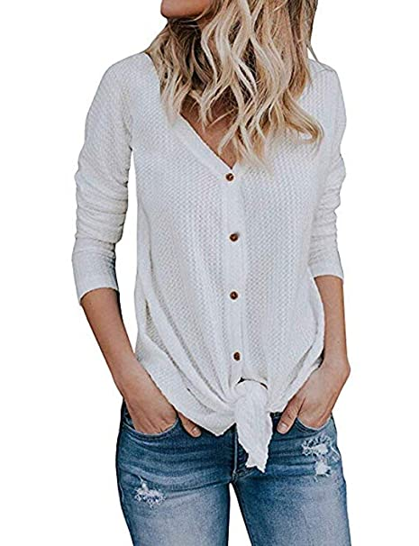 6c8b65a0a Women's Casual V Neck Button Down Knitwear Long Sleeve Loose Long Shirt  Blouses White XL at Amazon Women's Clothing store: