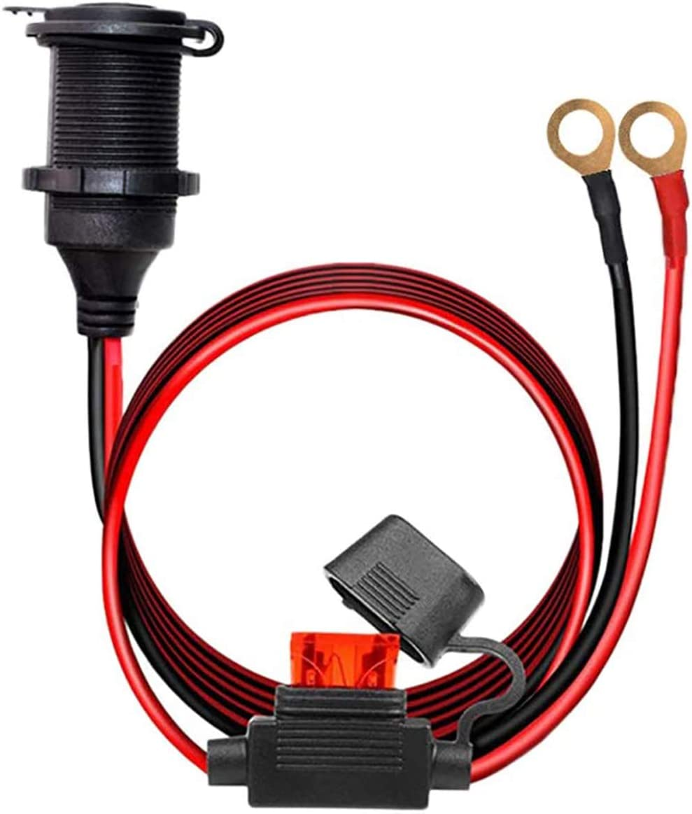 12V/24V Fixed Thread Cigarette Lighter Socket Extension Cable with Perforated Terminal, Direct Battery Type, car Cigarette Lighter Adapter. 14AWG 20A Heavy Duty Cable 10FT(Send Two Insurance Tablets)