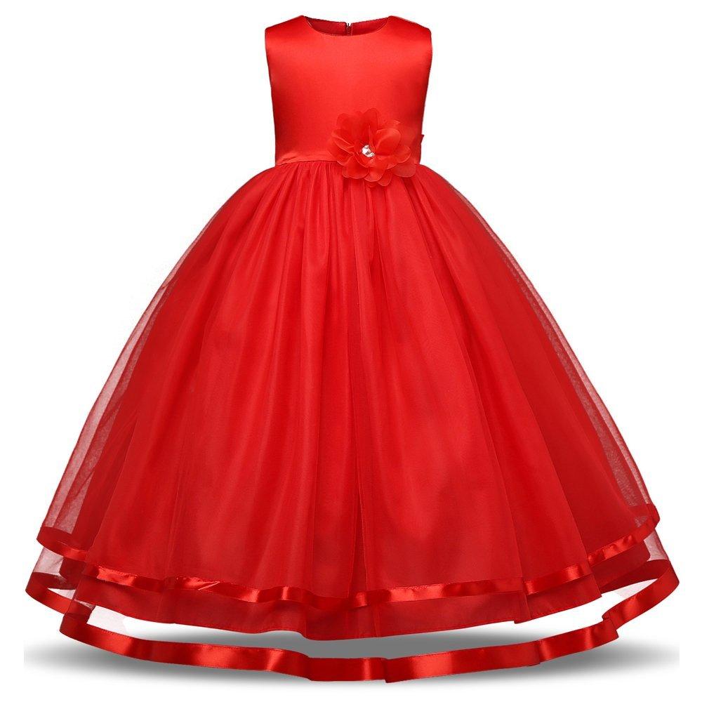 Quality.A Wedding Dress Girls Flower Dress Sleeveless Princess Dress Gift Tutu