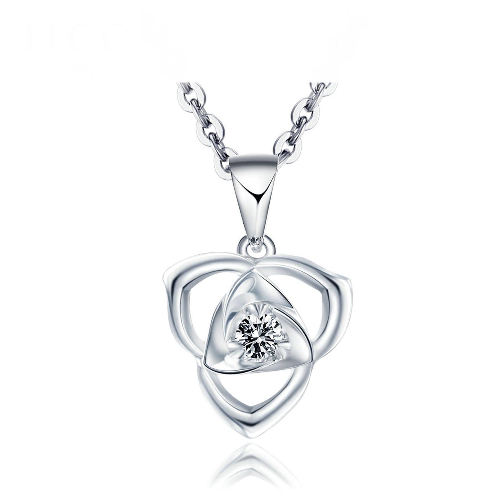 Daesar 18K White Gold Necklace For Women Hollow Flowers Necklace Cubic Zirconia Pendant White