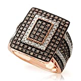 Brand New 2.00 Carat Natural Brown & White Diamond Luxurious Ring, 925 Sterling Silver Size 10