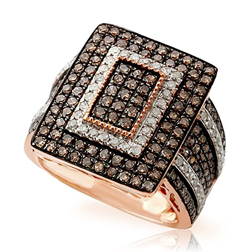 Brand New 2.00 Carat Natural Brown & White Diamond Luxurious Ring, 925 Sterling Silver Size 10 by Prism Jewel