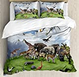 Ambesonne Africa Duvet Cover Set King Size, Tropic Animal Collage in the Valley with Lion Parrot Swans Elephants and Flamingos, Decorative 3 Piece Bedding Set with 2 Pillow Shams, Multicolor