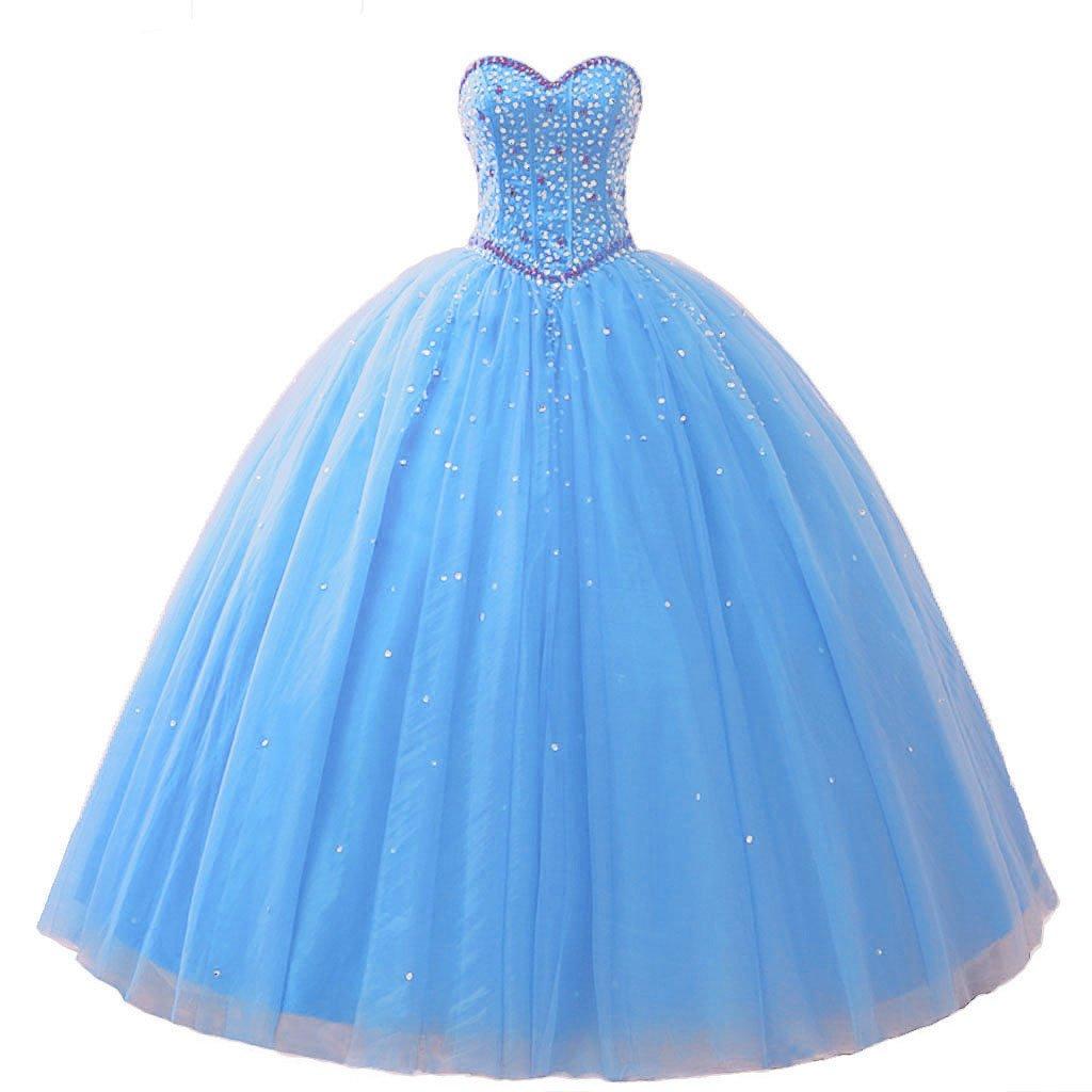 Sky bluee Vantexi Women's Pretty Ball Gown Quinceanera Dress Beaded Prom Dresses