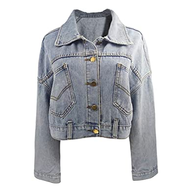 dbfe2d3d68 Womens Vintage Denim Jacket Oversize Boyfriend Rip Jean Jacket with Long  Sleeve Pockets Hole