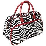 Zebra 21'' Carry-On Duffel Bag Red Trim Zebra