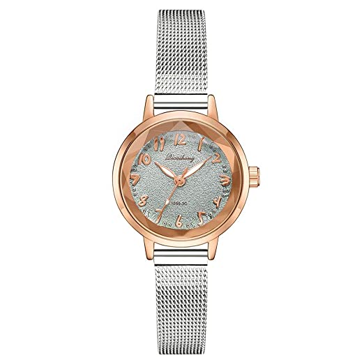 60b748afc Licaihong Sleek Minimalist Alloy Scale Silver mesh with Quartz Women's Watch  Stylish and Simple Matte Disk