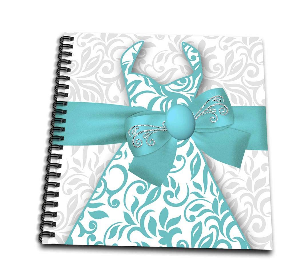 3dRose db/_269560/_1Pretty Fashion Dress with Bling in Blue and White for Girls Drawing Book 8 x 8