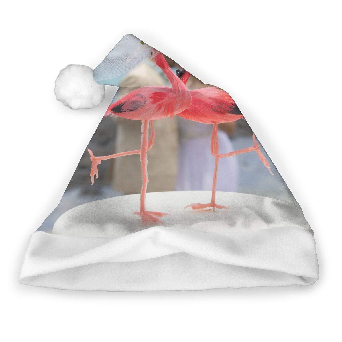 2 PCS Decor Christmas Hat Flamingos Pair Caribbean Birds Santa Headwear Xmas Cap Cosplay Decorations