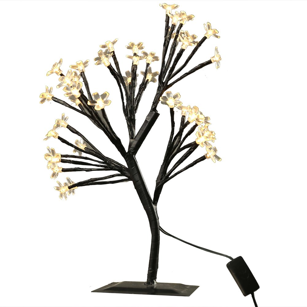 MUNAN 15.8 inch LED Cherry Blossom Tree Branches Light Table Lamp Night Light Decoration for Indoor Home Desk Top Baby Room Bedside (Warm White, Cherry Shape)