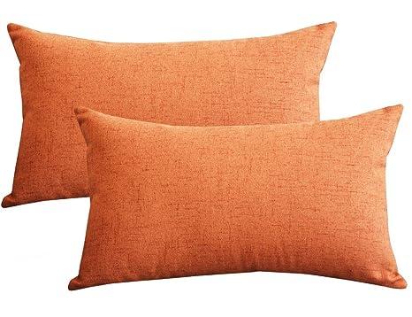 Lutanky (Paquete de 2)  Fundas de almohada de tiro de lino preciosas Funda de cojín para almohada de rectángulo suave para dormitorio de sofá (30 x 50 ...
