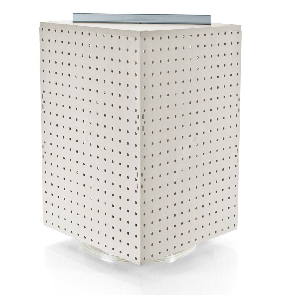 Azar 701414-WHT Pegboard 4-Sided Revolving Counter Display, White Solid Color