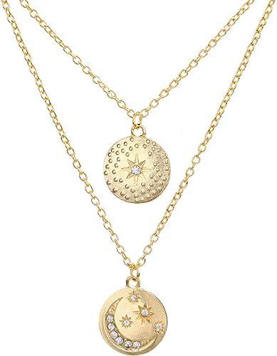 Gold Chain Star Moon Sun Choker Necklace for Women Crystal Coin Choker.