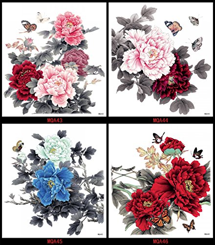 GGSELL GGSELL look like real temporary tattoos 4pcs extra large colorful peony flowers fake tattoo stickers in a packages]()