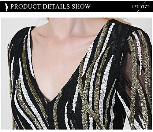 ACVIP Aderente Vestito Donna a 3/4 Maniche Paillettes V-Collo Nero