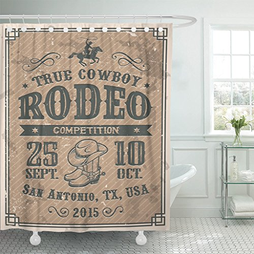 Emvency Shower Curtain Country American Cowboy Rodeo and Vintage Western Animal Farm Waterproof Polyester Fabric 60 x 72 Inches Set with ()