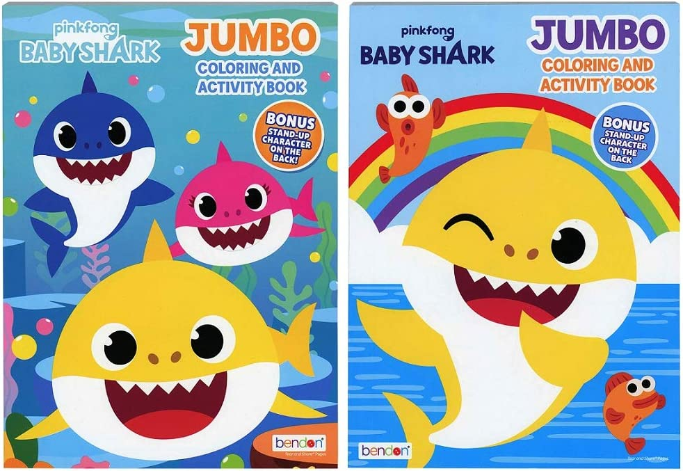 Amazon Com Bendon Baby Shark Jumbo Coloring Book And Activity Book 2 Book Set 80 Page Each Toys Games