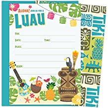 Luau Party Invitations with Aqua Blue Envelopes for Birthdays, Bridal Showers, Baby Showers, Summer Parties, Rehearsal Dinners and Bachelorette Parties. Set of 25 Fill-in invitations and Envelopes