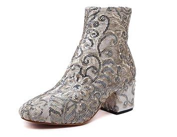 Mujeres 6 cm Chunkly talón del dedo del pie redondo bordado Botines Martin Boots Flores encantadoras