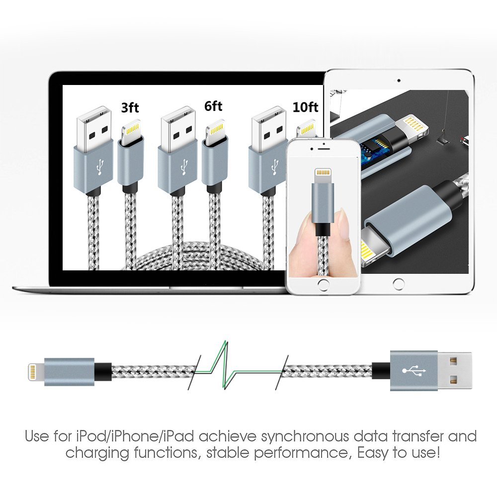 Lightning Cable,NANMING Charger Cables 4Pack 3FT 6FT 6FT 10FT to USB Syncing Data and Nylon Braided Cord Charger for iPhone X/8/8 Plus/7/7 Plus/6/6 Plus/6s/6s Plus/5/5s/5c/SE and more(Gray+White) by Nanming (Image #6)