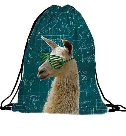 PREMYO Bolsa de Cuerdas Saco de Gimnasio Deporte Mochila Mujer Hombre con Impresión Alpaca Motivo Gracioso Práctico Cómodo Cordón Robusto