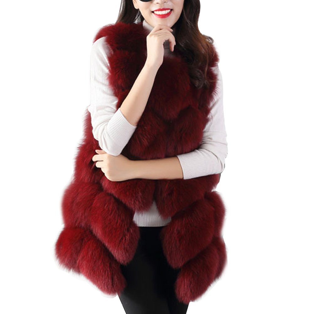 BAINASIQI Women's Warm Gilet Outwear Long Slim Vest Faux Fox Fur Elegant Waistcoat Jacket Coat