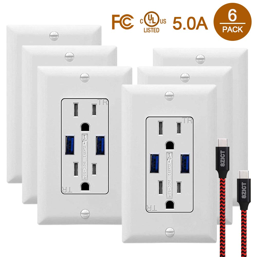 SZICT USB Wall Outlet Receptacles with USB 6 Pack 5.0A Quick Charging USB Receptacle 15A Tamper Resistant USB Wall Outlet with 2 Wall Plates and USB Cable White