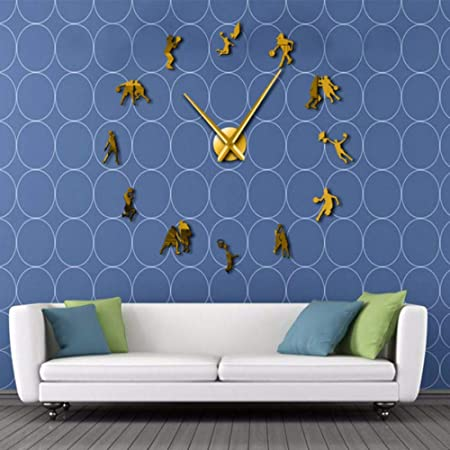 jasonding Jugadores De Baloncesto DIY Reloj De Pared Grande Sala ...