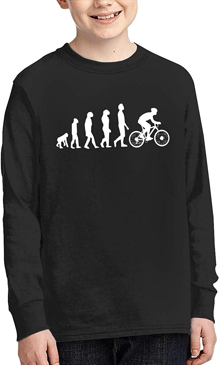 Teenagers Teen Boy Evolution Cycling Bicycle Printed Long Sleeve 100/% Cotton T Shirts