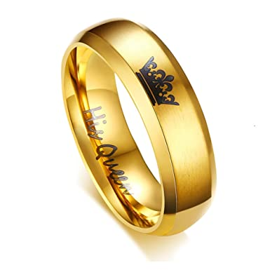 8262904623 FANSING Men Wedding Bands Women, Matching Couple Rings, King and Queen, Stainless  Steel, 6mm, Black & Gold, Size 6-13 | Amazon.com