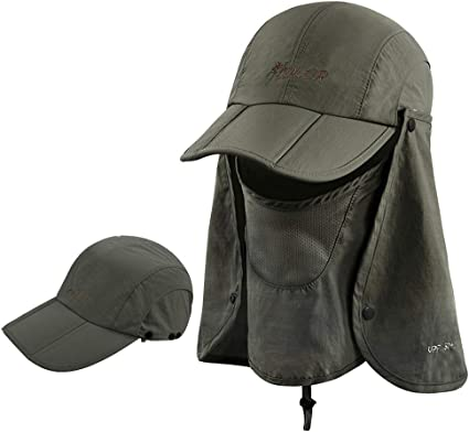 Men Outdoor Fishing Cap Sunshade Hat With Neck Flap Cover Anti-UV Wide Summer US