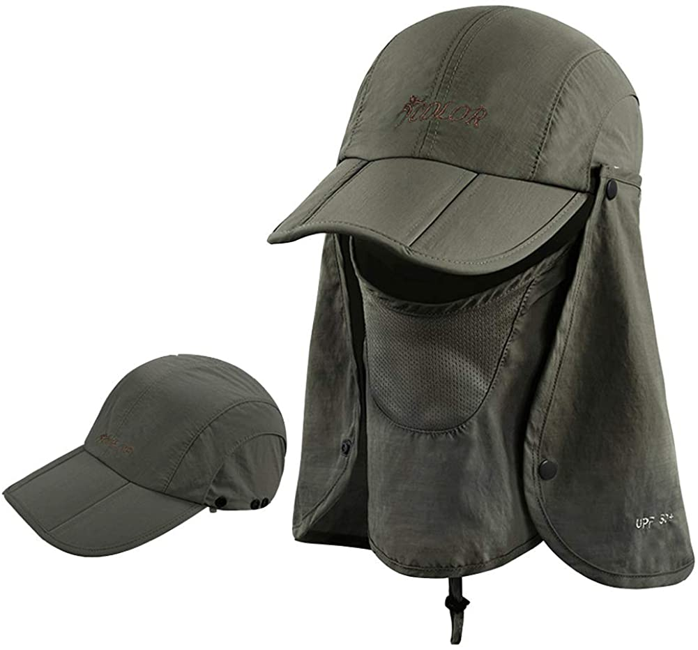 Unisex Sun Cap with Face Mask Shield Detechable Face Cover UV Protective Sun Hat