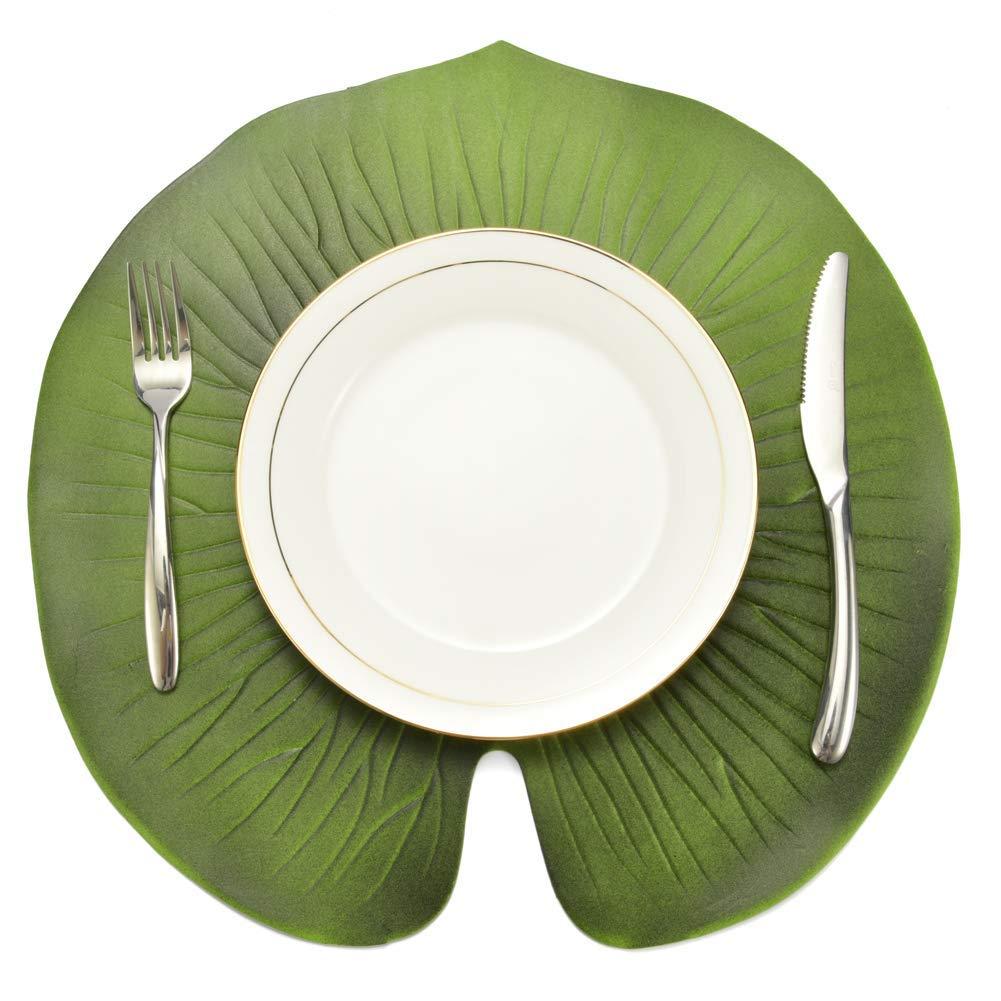 memorytime Artificial Lotus Leaf Kitchen Placemat Insulation Mat Bowl Anti-Slip Table Decor Kitchen Dining Supplies - Green