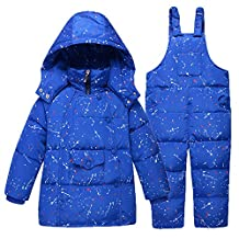 Baby Boys' Ultralight Snowsuit Winter Puffer Down Jacket Two-piece Set with Hooded