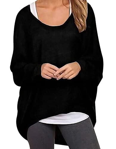 Oryer Womens Casual Oversized Baggy Off Shoulder Shirts Loose Pullover Tops