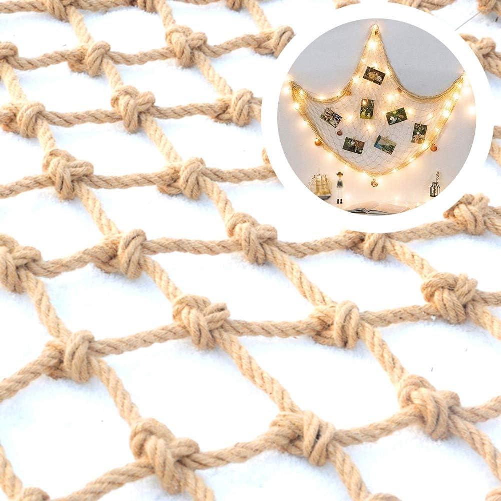 شبكة ديكور مضادة للسقوط، شبكة تعليق الملابس شبكة التقسيم شبكة شبكة التسلق في الهواء الطلق شبكة سلامة الأطفال الحيوانات الأليفة شبكة حبل القنب ، قابل للتخصيص (اللون: بيج-8 سم، الحجم: 3 × 6 متر)