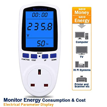 Nevsetpo Power Meter UK Plug Energy Monitor Power Consumption Electricity Usage Monitor Cost Meter Calculator Watt Voltage Amp Meter with Overload Protection Upgraded