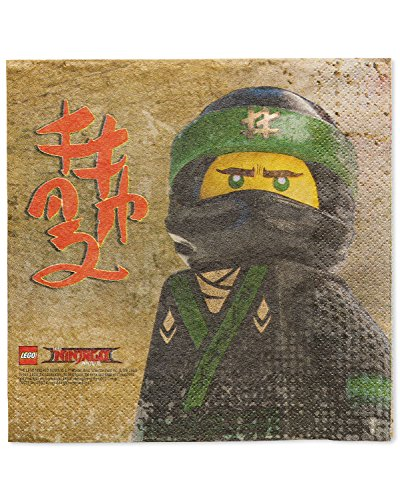 American Greetings Lego Ninjago Lunch Paper Party Napkins, Lunch Napkins, 16-Count (Birthday Lunch Napkins Style)
