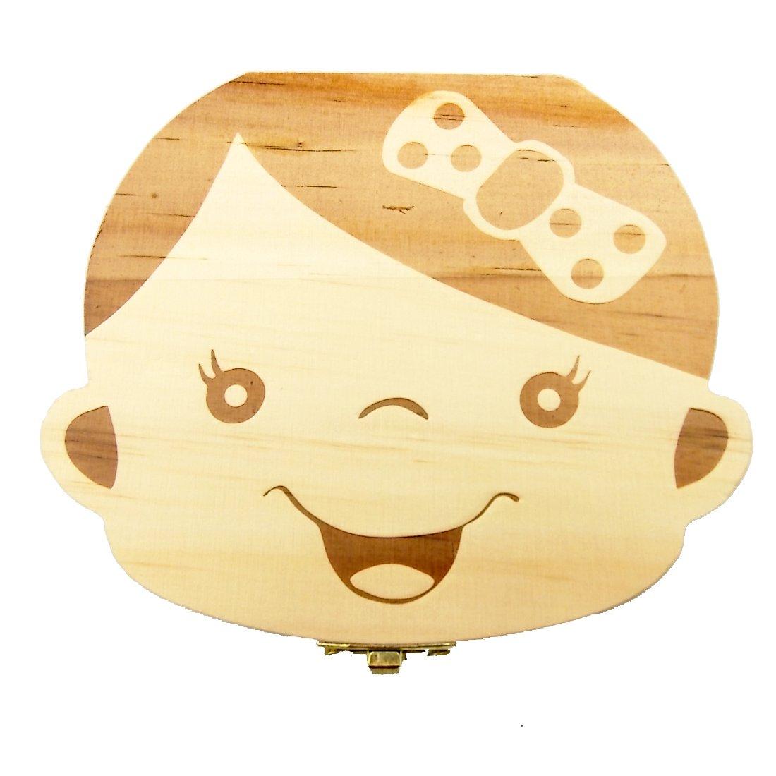 Caja de madera de 2 piezas, de JJOnlineStore, para almacenamiento y organización de los dientes de leche, regalo de recuerdo personalizado con diseño de dibujo animado infantil, decoración para guardería Talla:2 Pcs Girls JJ Baby 51206-207
